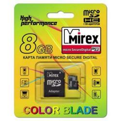 Флеш карта MicroSDHC 8GB MIREX class4 с адаптером