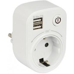 Разветвитель EKF PROxima SB-01 1 роз. 16А + 2 USB 5V 2,1A (розеточный блок, адаптер)