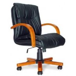 Кресло Свинг Н дерево Д8 K11 темный орех, черная кожа