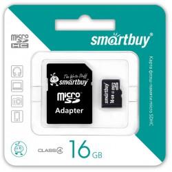Флеш карта MicroSDHC 16GB SMARTBUY Class10 с адаптером