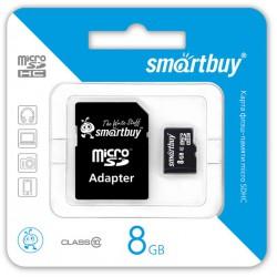 Флеш карта MicroSDHC 8GB SMARTBUY Class10 с адаптером